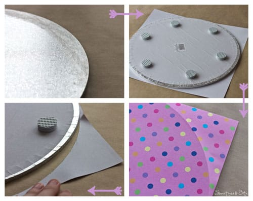 Attaching paper to cake board
