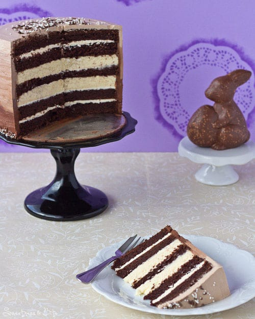 Chocolate and Vanilla Honey Cheesecake Layer Cake Slice