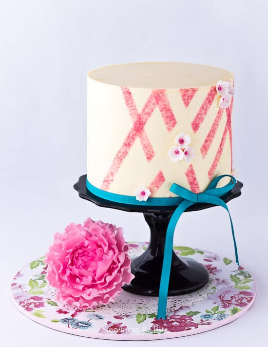 Pink Sponged Abstract Buttercream Cake