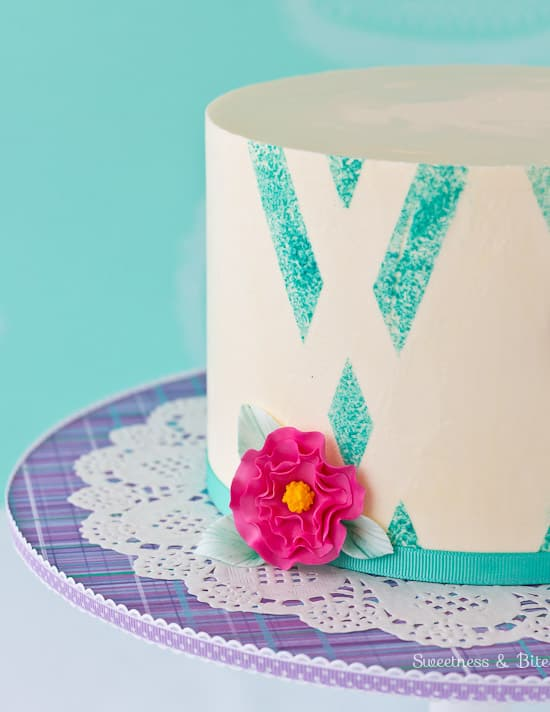 Teal Sponged Absract Buttercream Cake