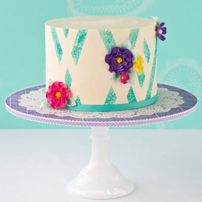 Teal Sponged Abstract Buttercream Stripe Tutorial