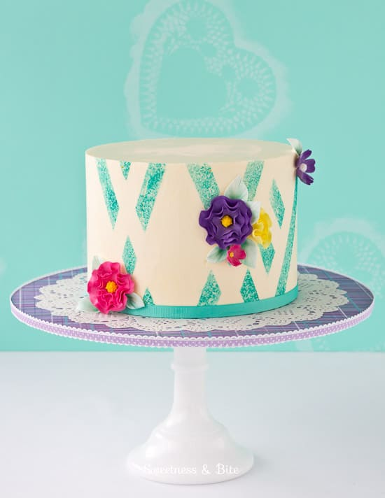 Teal Sponged Abstract Buttercream Cake