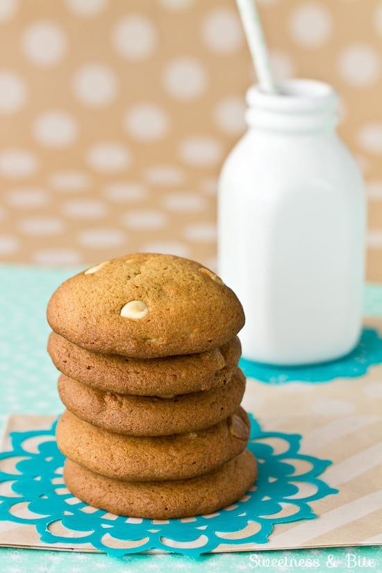Stack of Caramel White Chocolate Chip Cookies