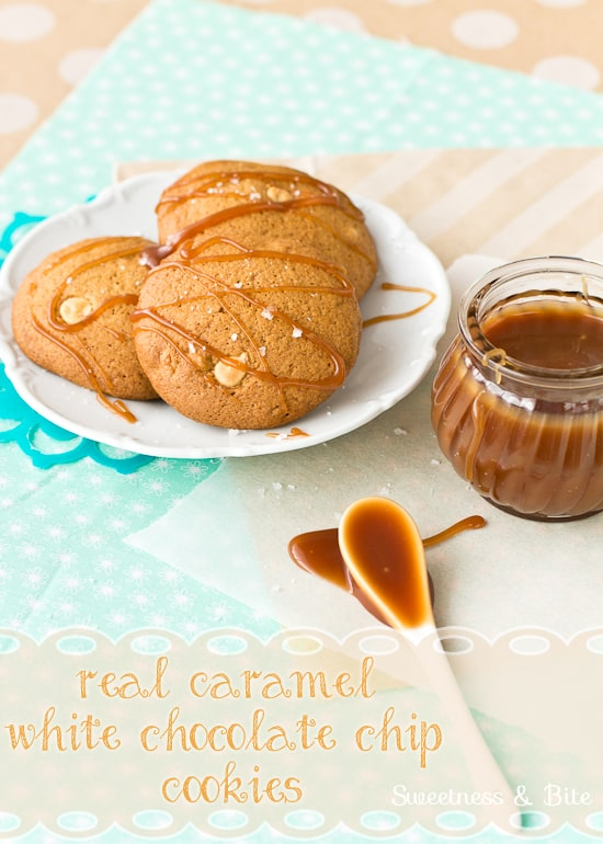 Caramel and White Chocolate Chip Cookies