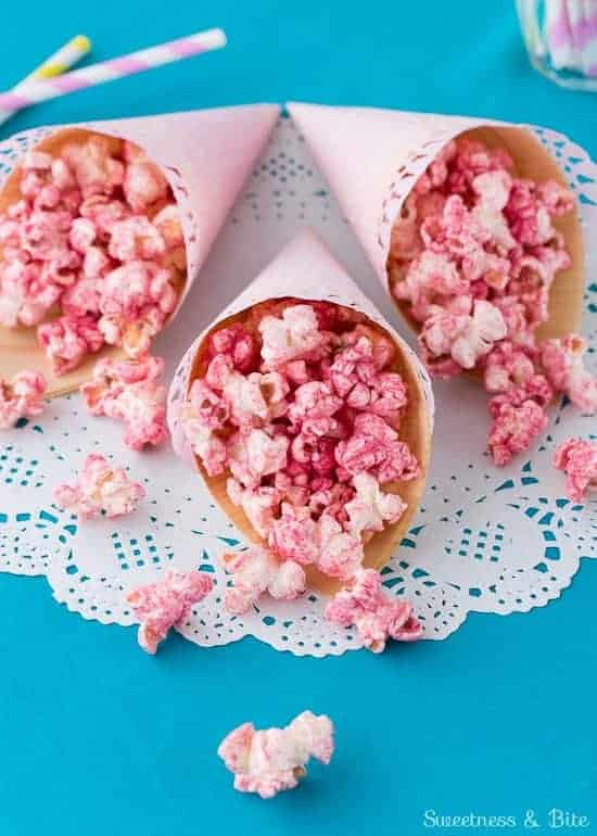 Fruity Party Popcorn Cones {Naturally coloured and flavoured + gluten free}