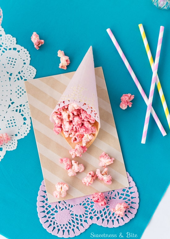Fruity Party Popcorn {Naturally coloured and flavoured + gluten free}