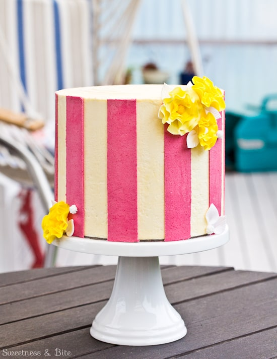 Perfect buttercream pink stripe cake
