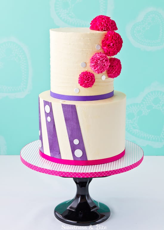 Pompoms and Stripes Cake {Sweetness & Bite}