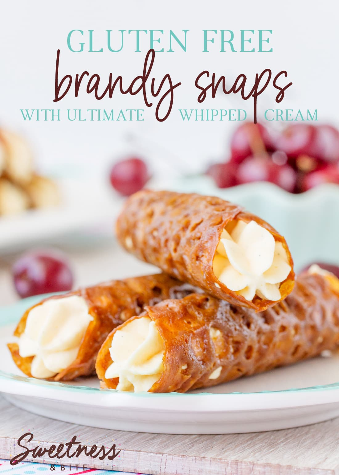 """Three brandy snaps stacked on a plate, text overly reads """"Gluten Free Brandy Snaps with Ultimate Whipped Cream."""""""
