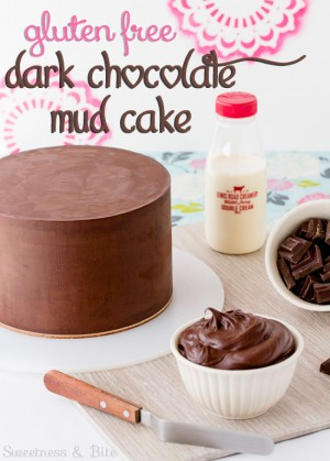 Gluten free dark chocolate mud cake for cake decorating ~ Sweetness & Bite