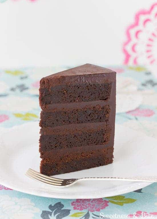 Slice Of Gluten Free Dark Chocolate Mud Cake