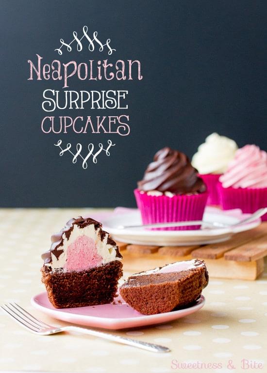 Neapolitan Surprise Cupcakes ~ Sweetness & Bite