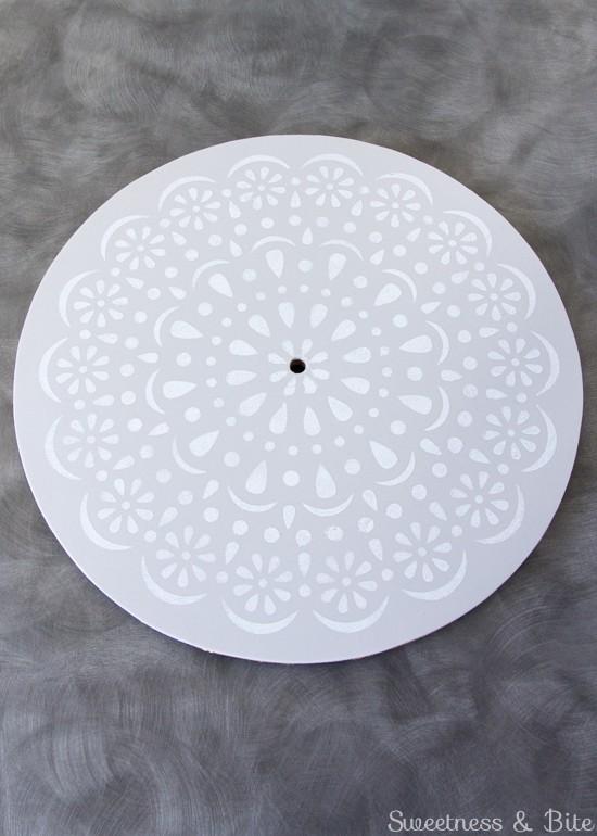 Simple Stenciled Cake Board ~ Doily