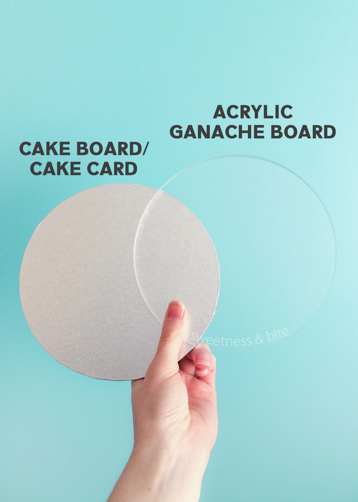 A hand holding a silver cake card and a clear acrylic ganache board the same size.