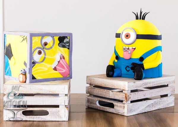 Mischievous Minion and Minion-in-a-box cakes - by My Cake Kitchen