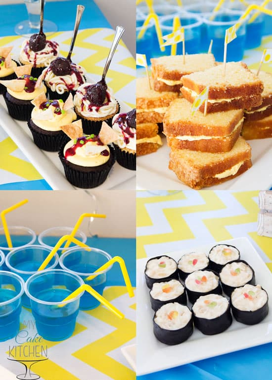 Mischievous Minion Party Food - Spaghetti & Meatball Cupcakes, Nacho Cupcakes, Cheese (Cake) Sandwiches and Sweet Sushi