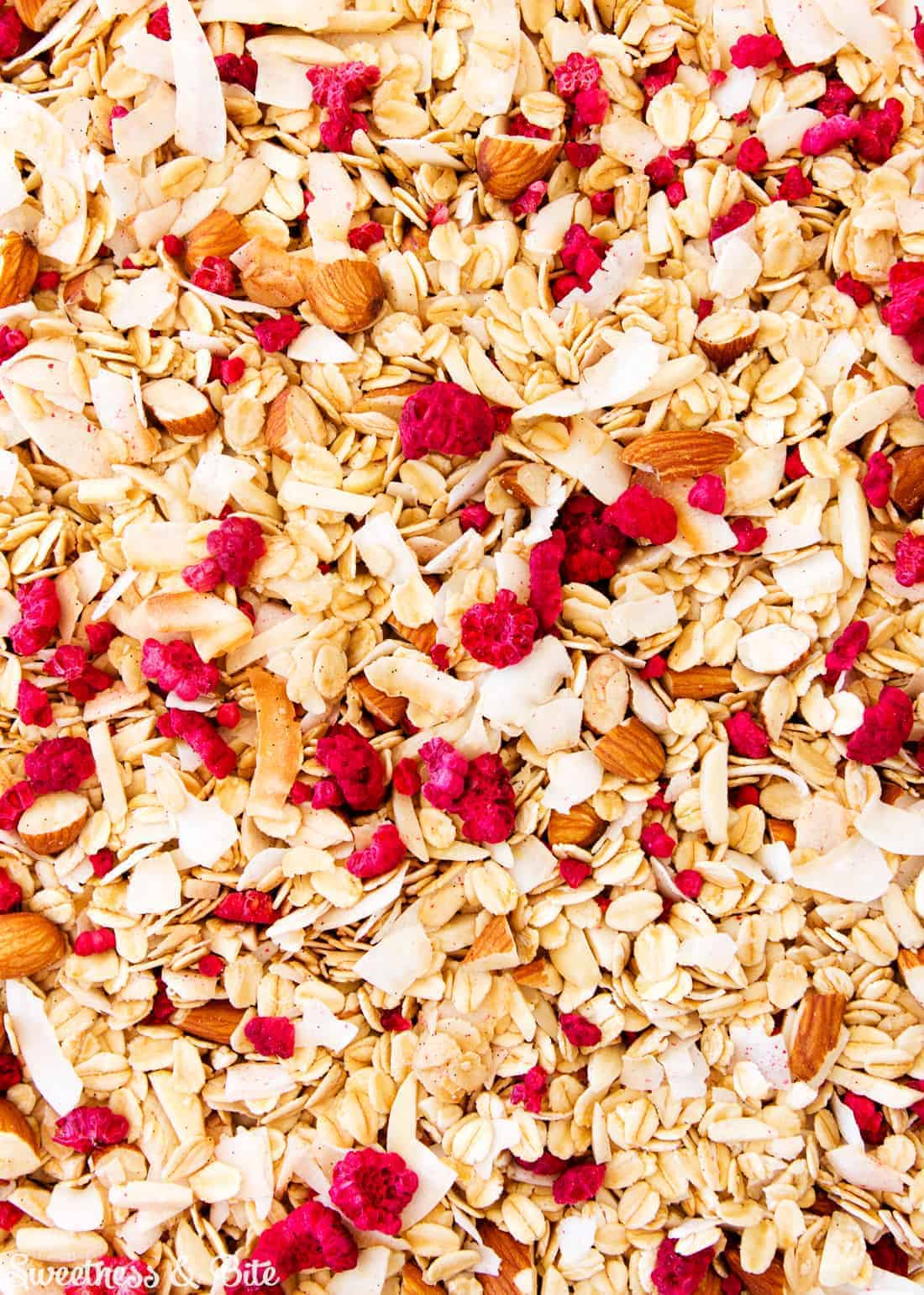 Almond, Coconut and Raspberry Meusli (aka Granola) ~ Sweetness & Bite