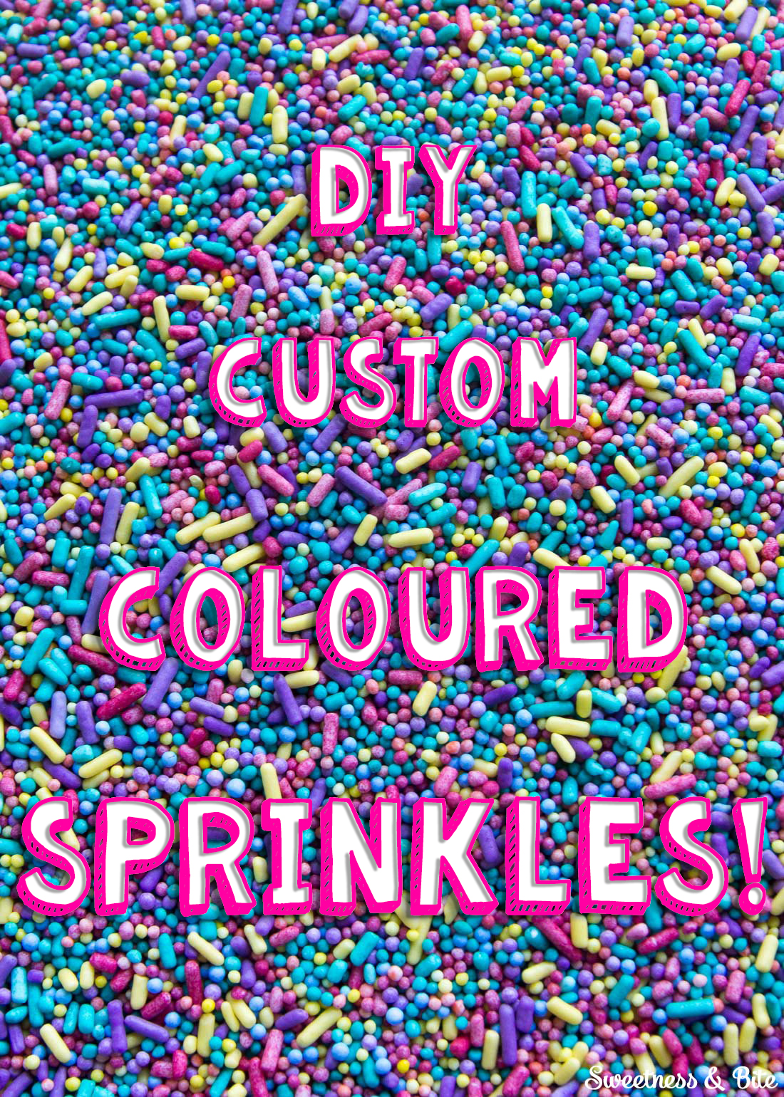 Sprinkle Cake Tutorial - A step by step guide to applying sprinkles to a fondant covered cake, plus how to make your own coloured sprinkles ~ Sweetness and Bite