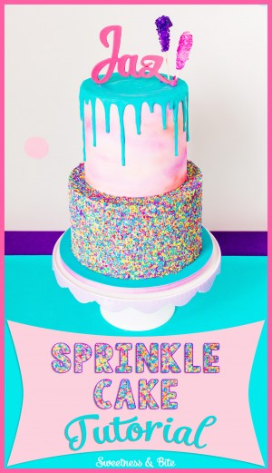 Sprinkle Cake Tutorial - A step by step guide to applying sprinkles to a fondant covered cake ~ Sweetness and Bite
