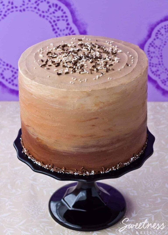 Chocolate and Vanilla Honey Cheesecake Layer Cake {Gluten Free, Or Not}