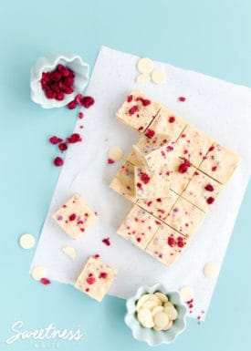 White Chocolate and Raspberry Fudge Slice