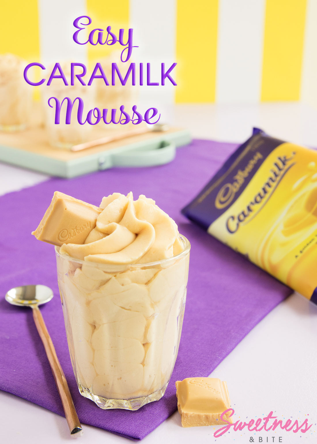 Easy Caramilk Mousse - Super easy, two-ingredient Caramilk Mousse recipe. If you love Cadbury's limited edition Caramilk chocolate, you will love this!
