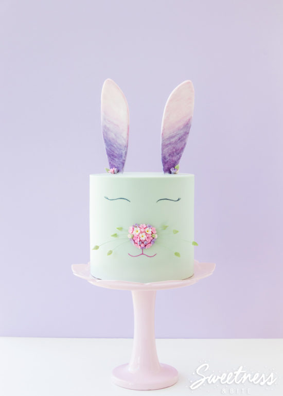 Floral and Watercolour Bunny Cake Tutorial ~ by Sweetness and Bite
