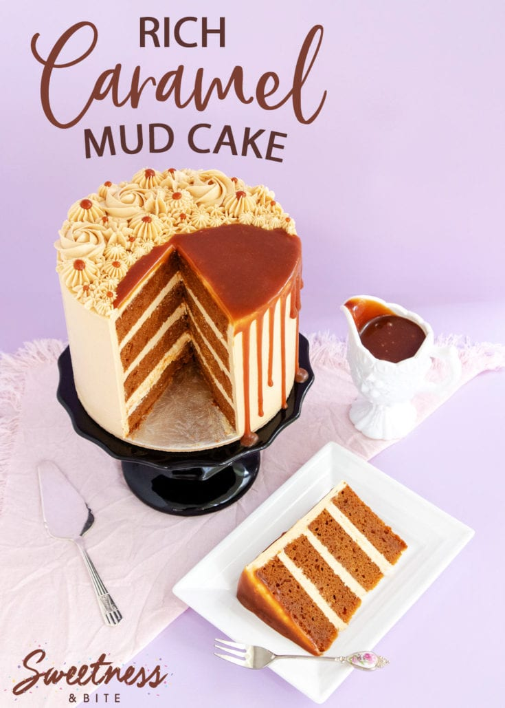Rich, dark caramel mud cake made using real caramel sauce. This is every caramel lover's dream cake! Includes recipe details for making the cake gluten free