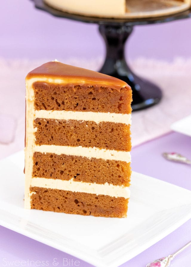 Rich, dark caramel mud cake made using real caramel sauce. This is every caramel lover's dream cake! Includes recipe details for making the cake gluten free, and how to make the most amazing caramel Swiss meringue buttercream.