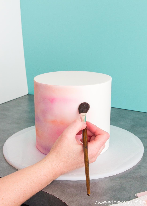 watercolour cake technique