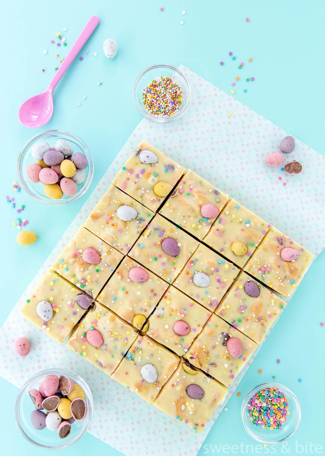 Mini Egg Fudge Slice Squares