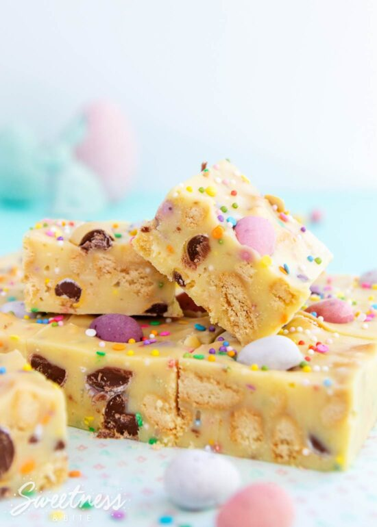 Pieces of Easy Mini Egg Fudge Slice