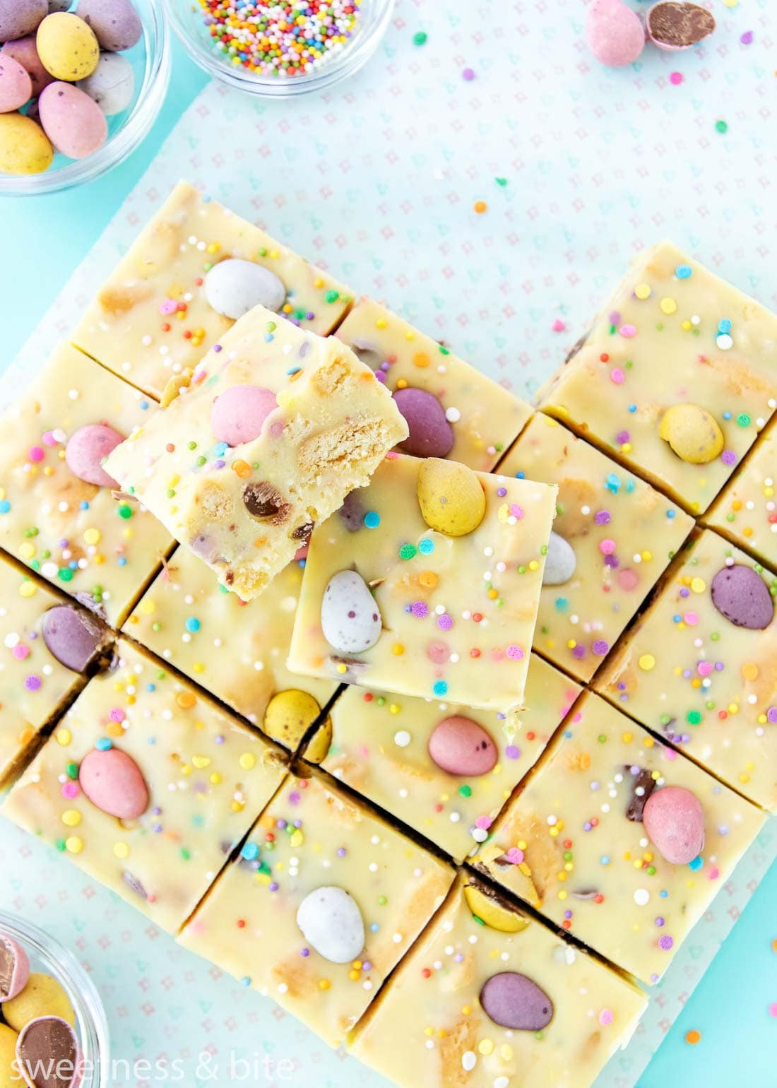 Pieces of Mini Egg Fudge