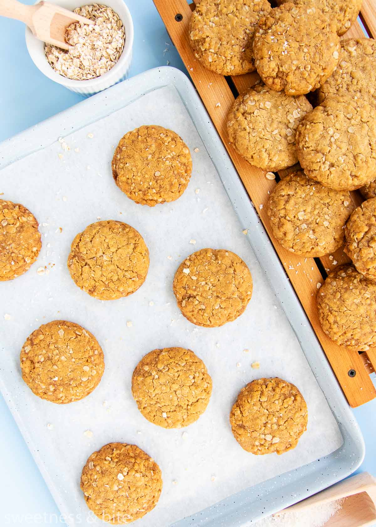 baking tray of gluten free anzac biscuits