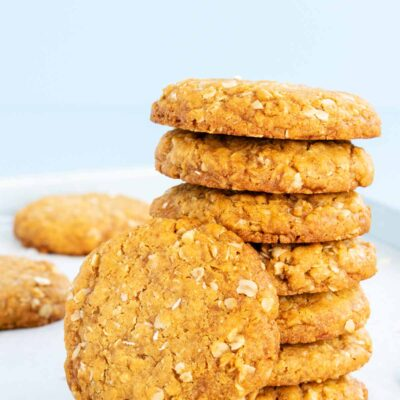 tall stack of gluten free anzac biscuits