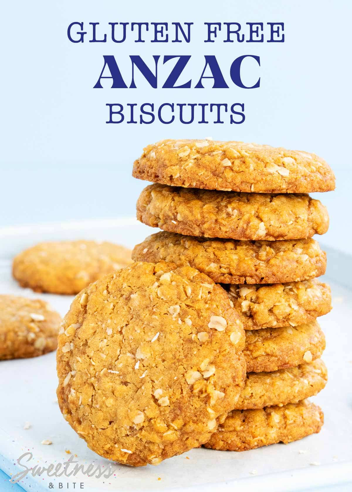 Stack of gluten free anzac biscuits