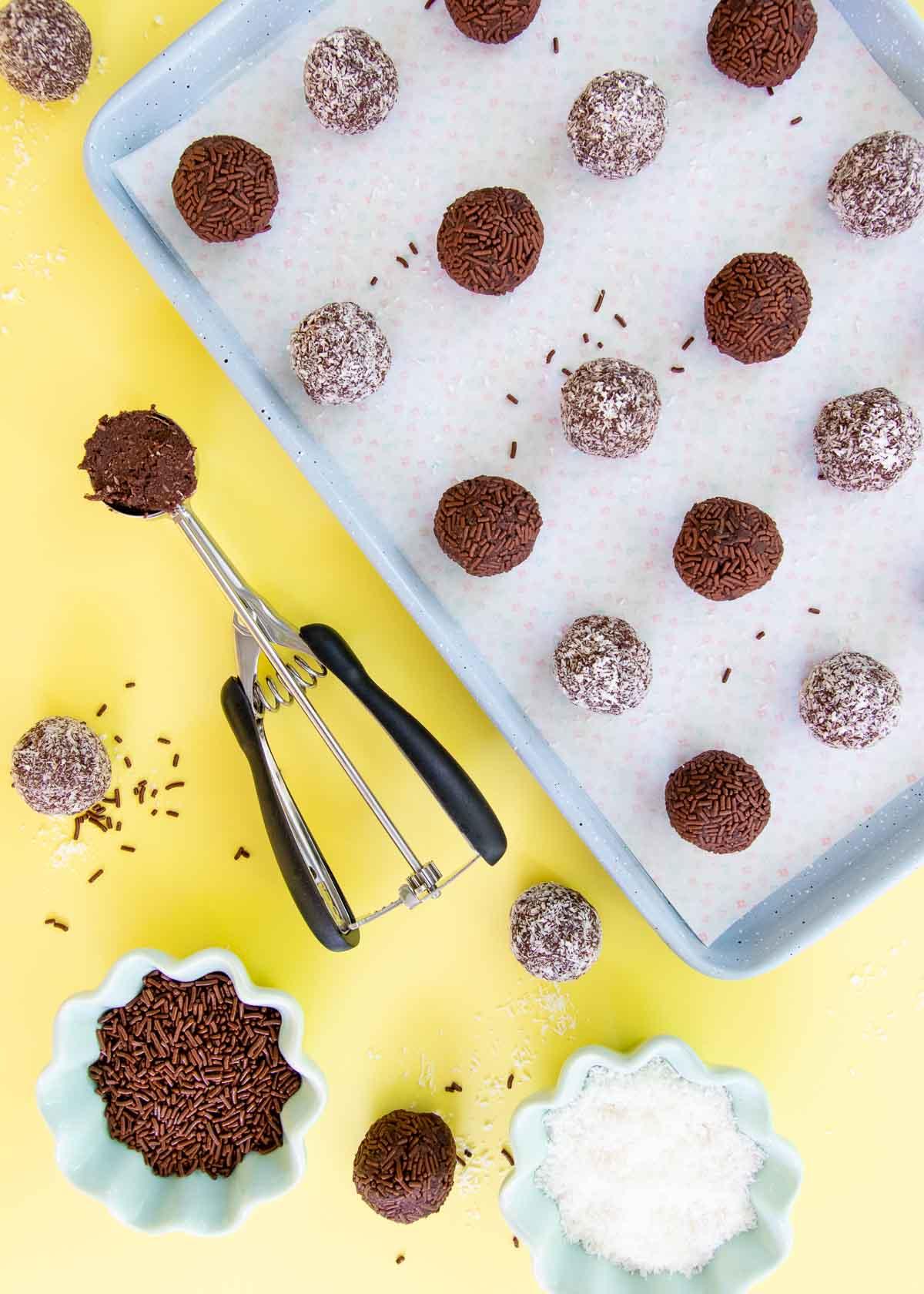 Chocolate coconut rum balls