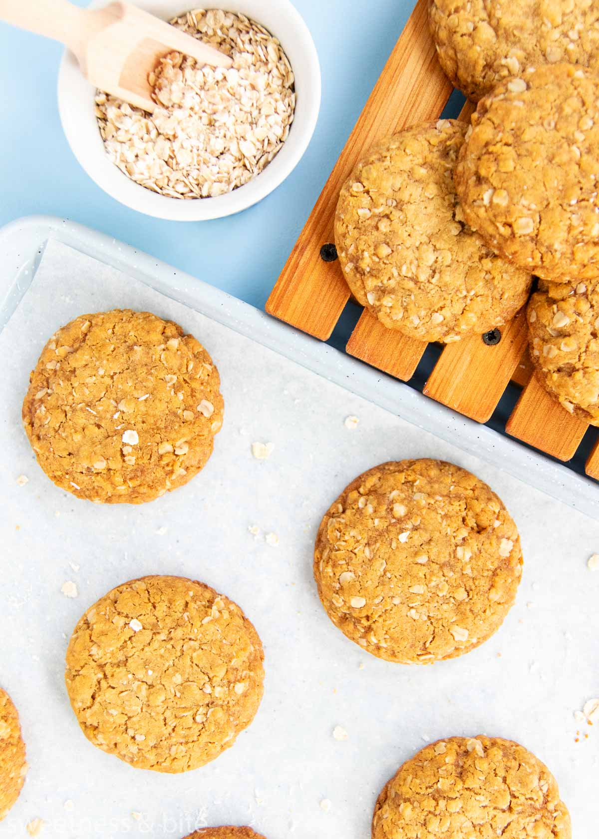 baked anzac biscuits on a tray