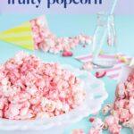 White bowl of pink fruit-flavoured popcorn