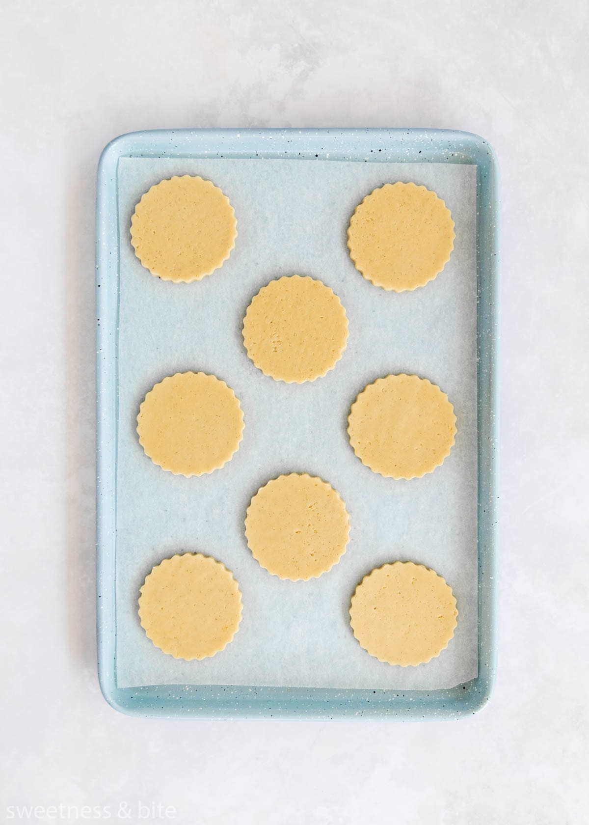 8 scalloped circle shaped cookie dough pieces on a blue cookie sheet.