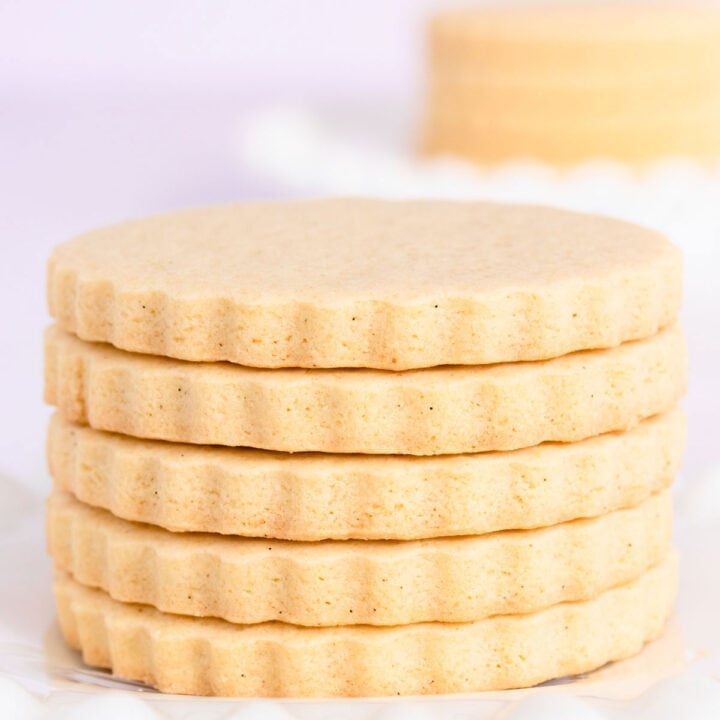 A stack of gluten free vanilla cookies on a white plate.