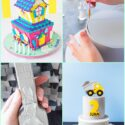 A collage of images to show to to make fondant stick to fondant.