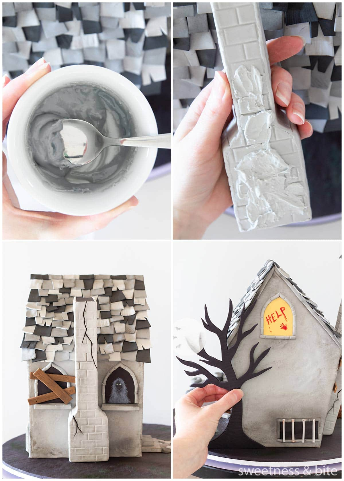 A collage of images of a haunted house cake, showing how to use melted fondant to attach the chimney and a 2D tree silhouette to sides of the cake.