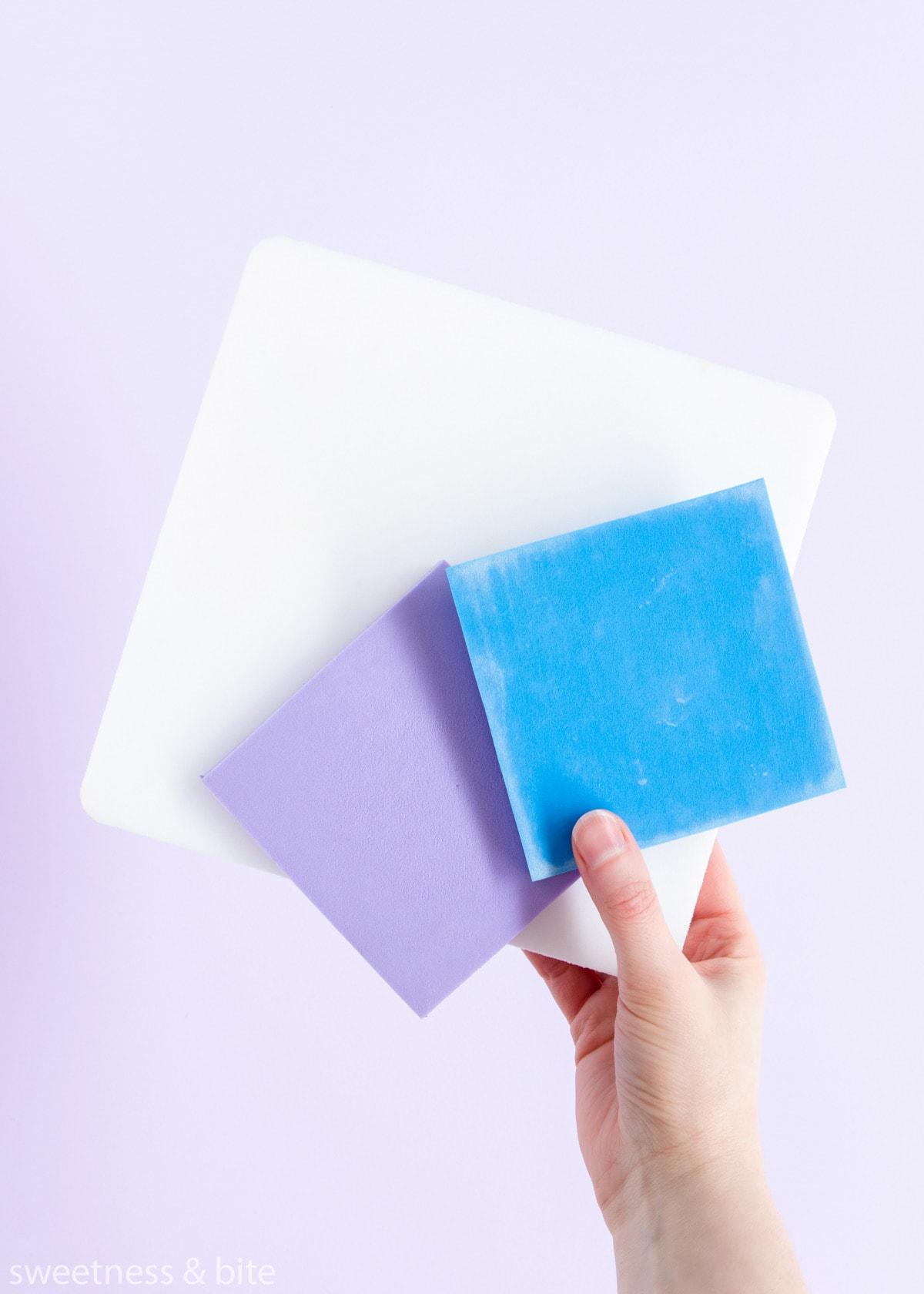 Three foam sugar flower-making pads.