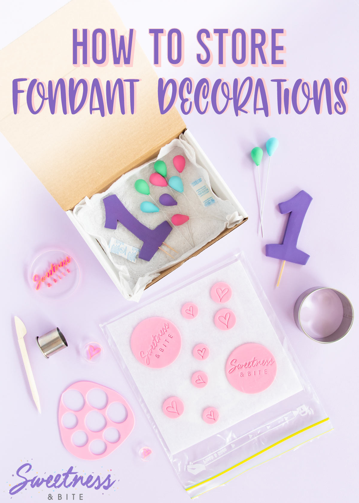 Fondant and gumpaste cake decorations in a box and in a resealable plastic bag - text overlay reads
