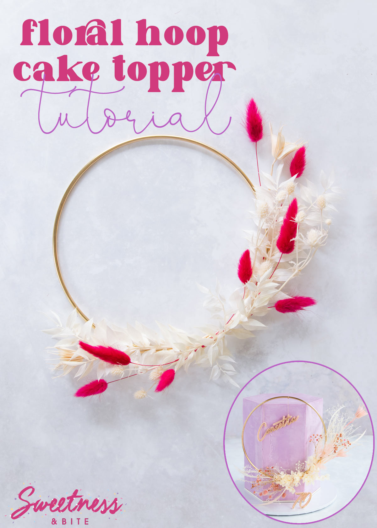 A gold hoop decorated with pink and cream flowers and leaves, text overlay reads